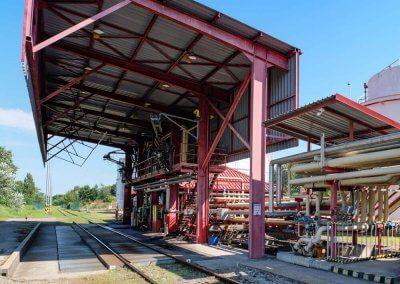 Stáčanie železničných cisterien PROGRESS-TRADING a.s. Trebišov